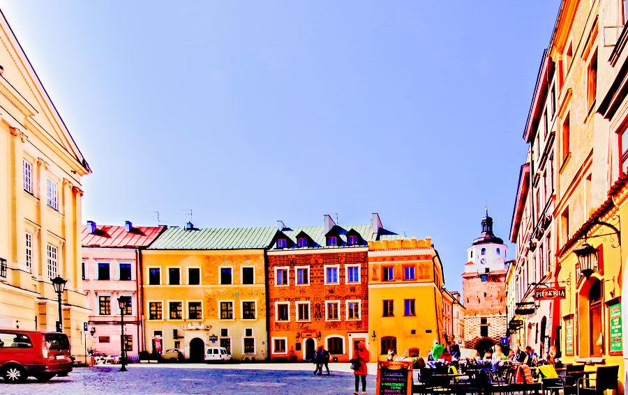 Wshód słońca na starówce w Lublinie
