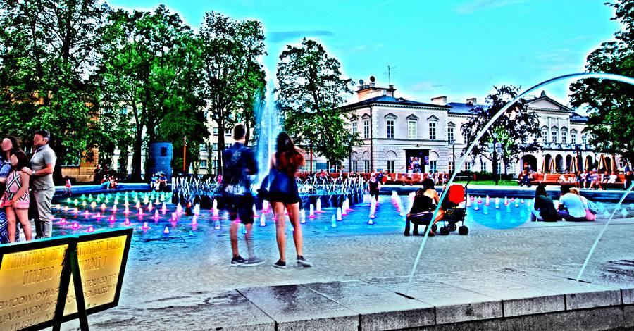 Wypoczynek nad fontanną w Lublinie