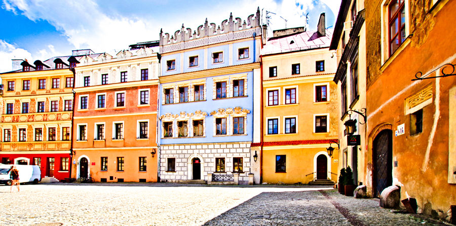 Lublin - urokliwa pierzeja Rynku Starego Miasta