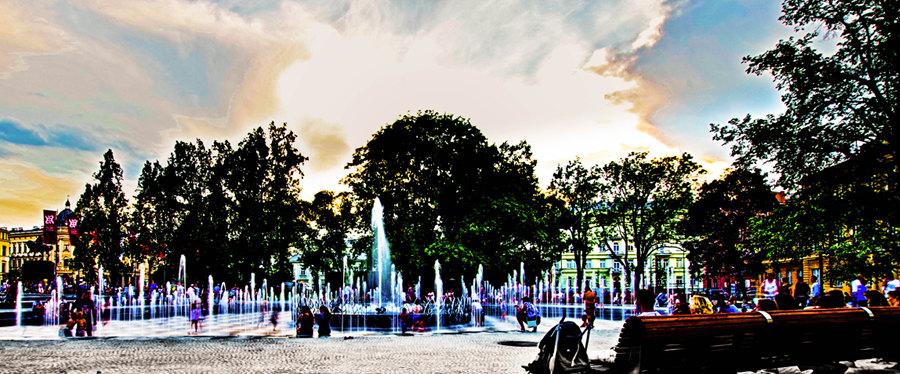 Fontanna na Placu Litewskim niedaleko Hotelu Victoria Lublin
