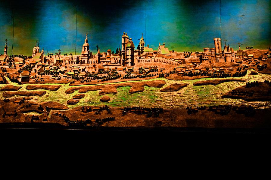 Panorama miasta w makiecie podziemia