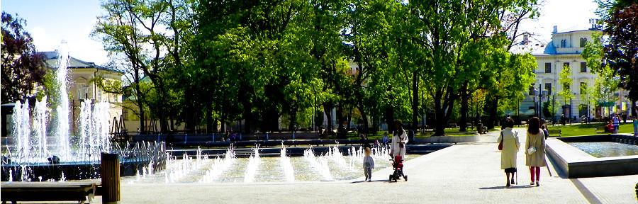 Zdjęcie do galerii, fontanny z Hotelem Europa w Lublinie, w tle