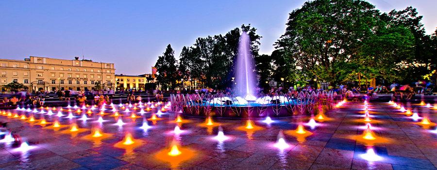 Atrakcje turystyczne Lublina - świetliki wodne fontanny multimedialnej